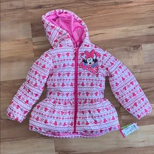 Disney Minnie Mouse Pink White Winter Jacket 3T